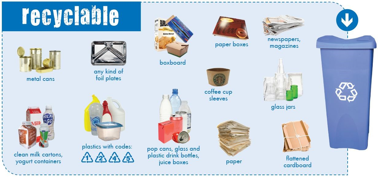 What goes in each bin - Recyclable